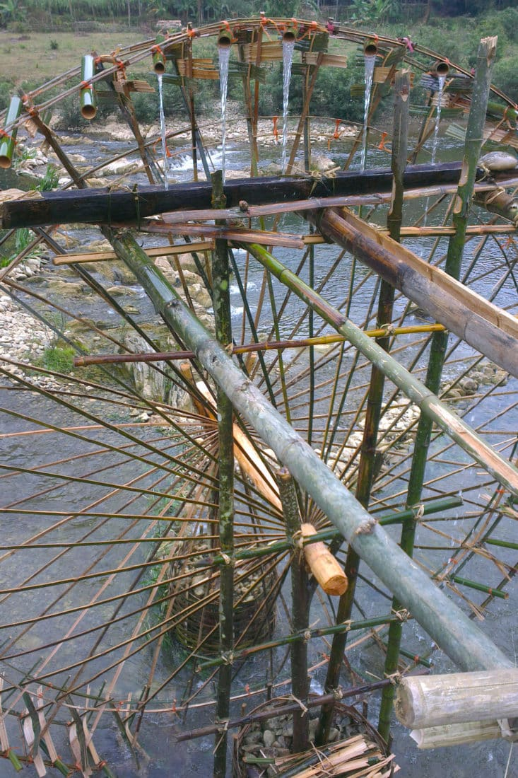 A close up of a waterwheel in Pu Luong, Thanh Hoa, Vietnam