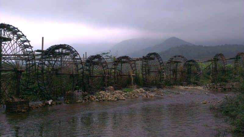 Big bamboo water wheels for irrigating crops on the Ma river