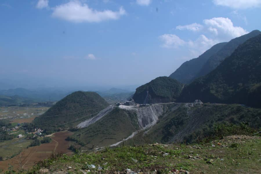 A distant view of the road wwinding up Thanh Khe mountain pass in Hoa Binh