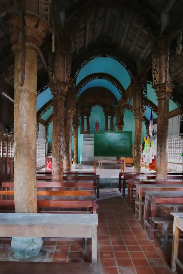 Inside a small chapel at Phat Diem cathedral 30km from Ninh Binh