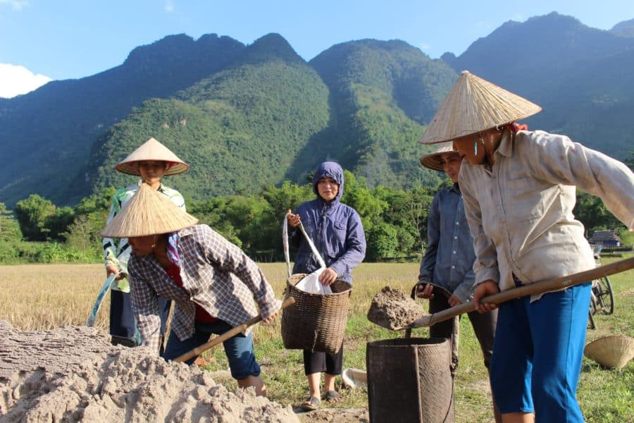 Vietnamese women working a field in Mai Chau, Hoa Binh
