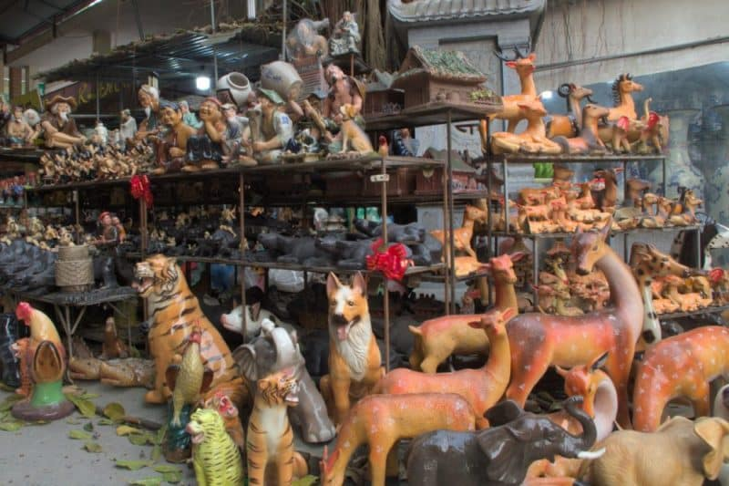 Ceramic animal figures at Bat Trang pottery village, Hanoi