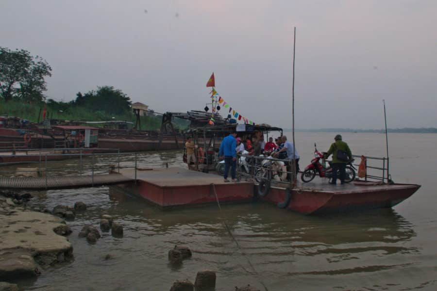 Ferry across the Song Hong River in Hanoi, Vietnam