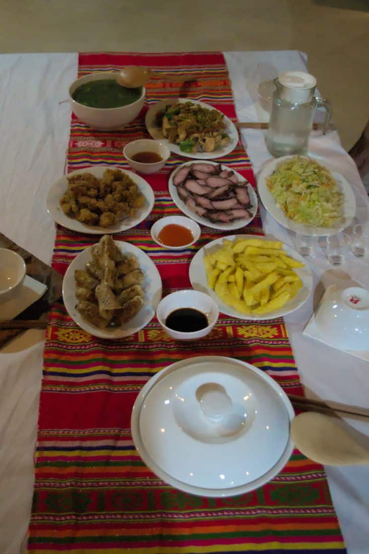 A table of delicious homestay food in Mai Hich, Mai Chau, Vietnam