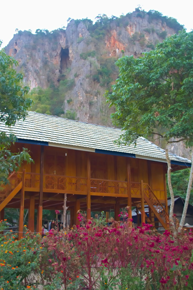 Thai stilt house in front of a mountain in Hoa Binh,Vietnam
