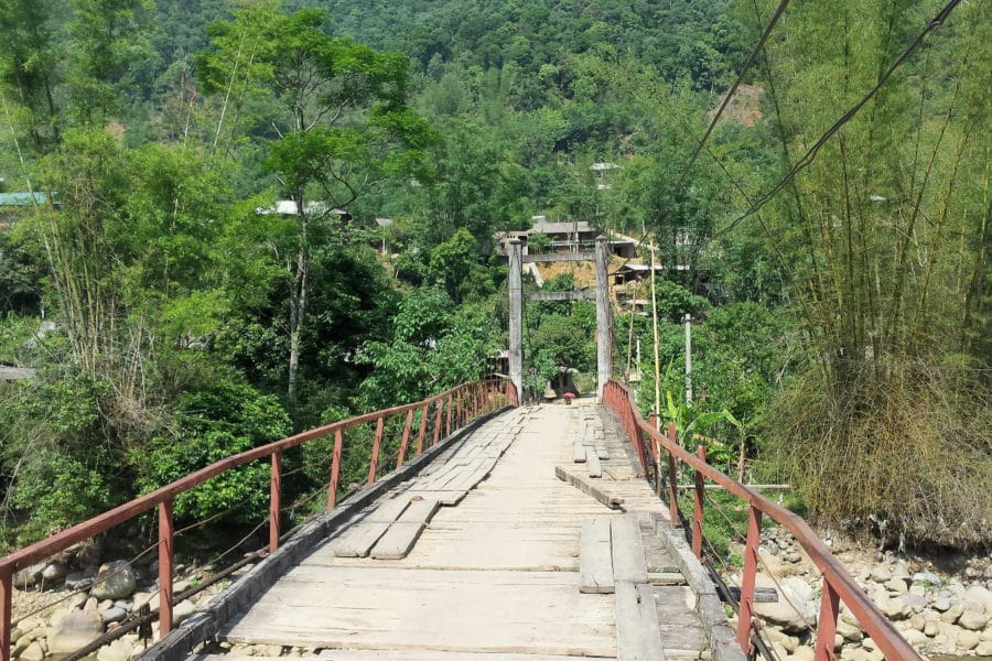 Wooden bridge in Yen bai province