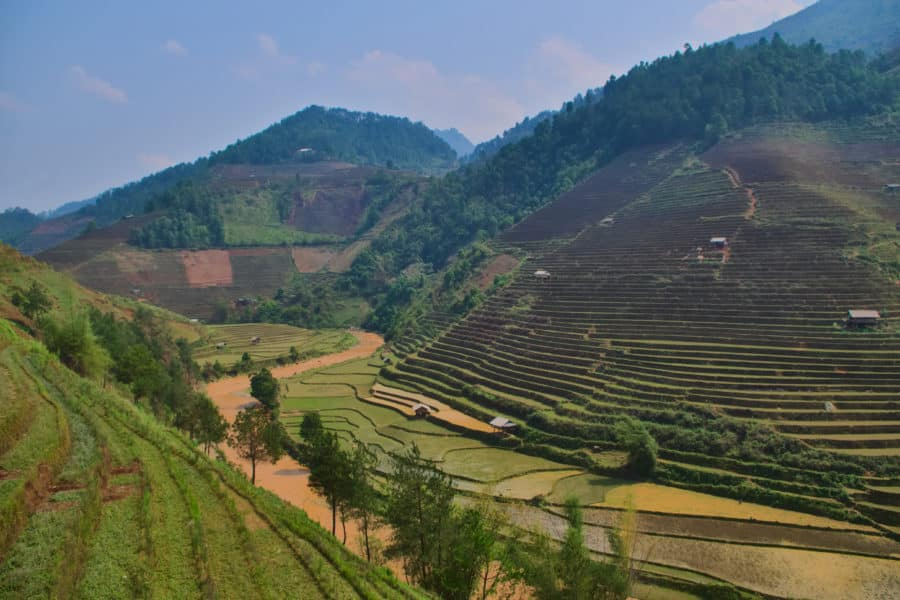 Dry rice terraces before planting
