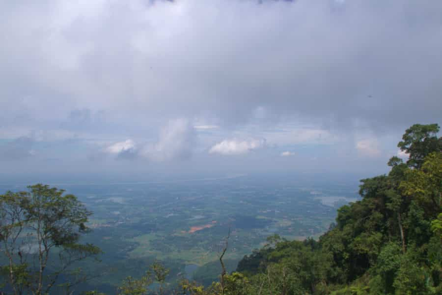A mountain view from Ba Vi towards Hanoi with the Red River in the distance