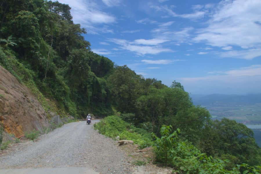 A dirt road on bavi mountain that has been fixed from a landslide