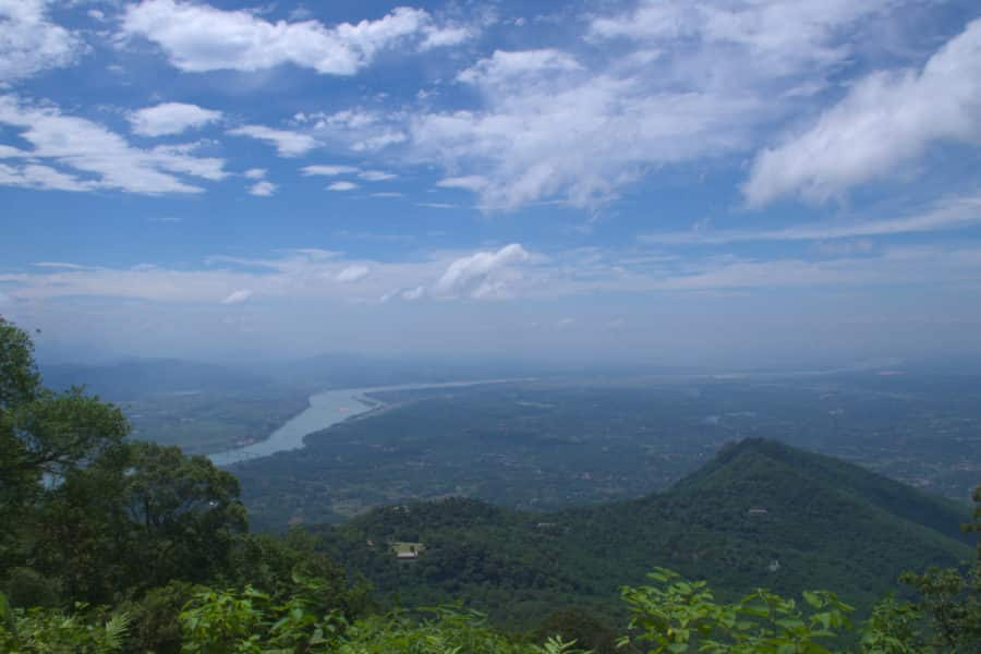 A vista of the Da river and countryside from Ba Vi Mountain on a clear day