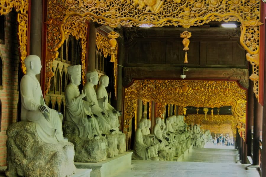 Some of the 500 Arhat statues in a corridoor at Bai Dinh, Ninh Binh