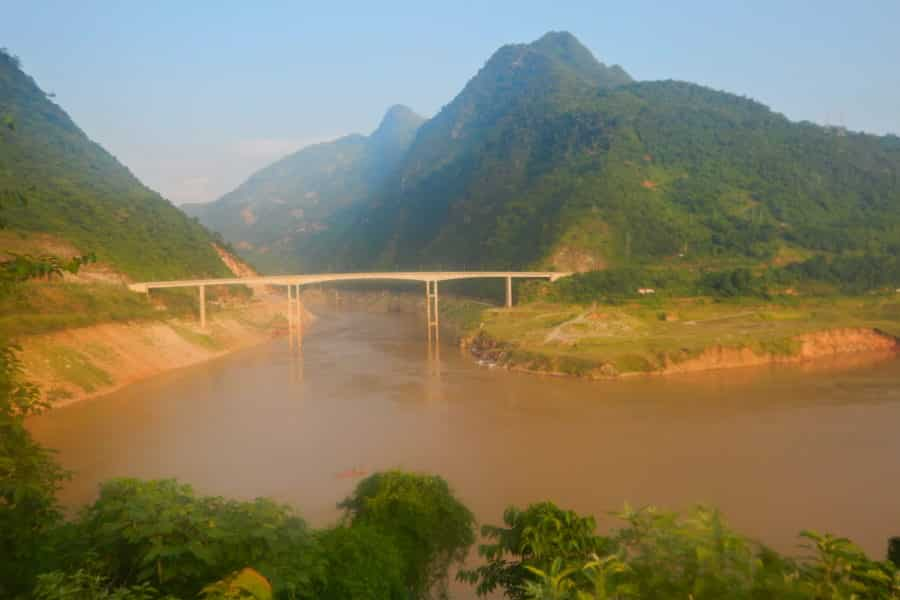 Bridge near Muong Lay, Dien Bien Province on a Vietnam motorbike tour
