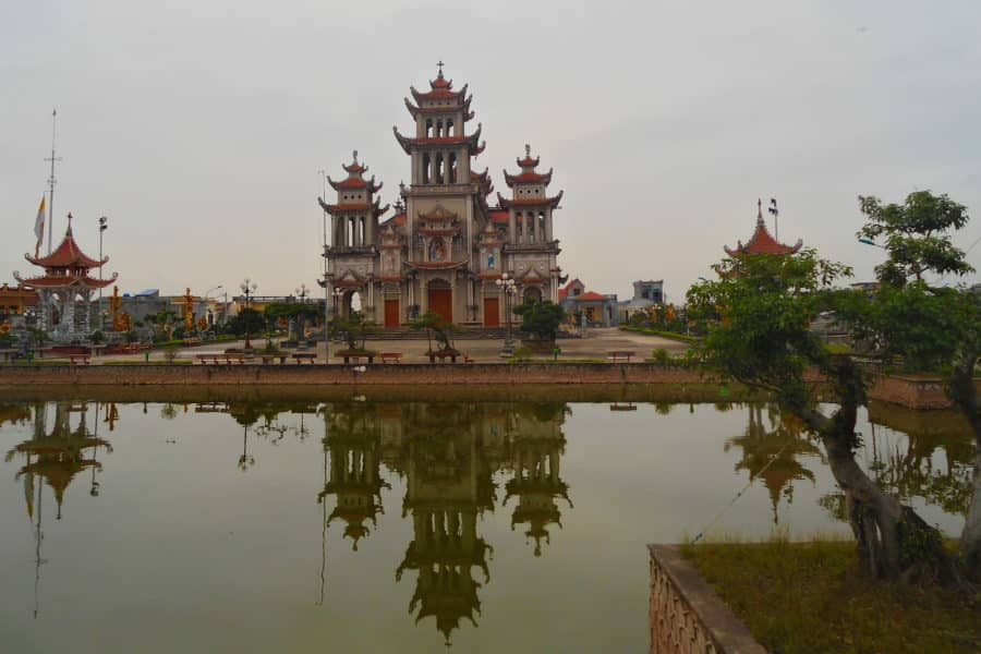 Catholic Cathedral in Nam Dinh on day 6 of a motorbike tour of Vietnam