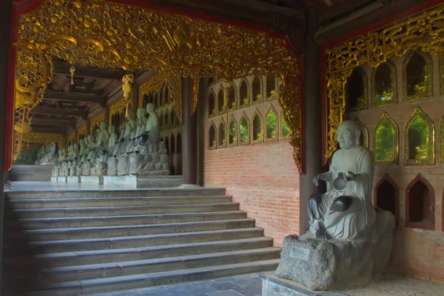 Arhat statues that line the sides of the Bai Dinh Pagoda complex