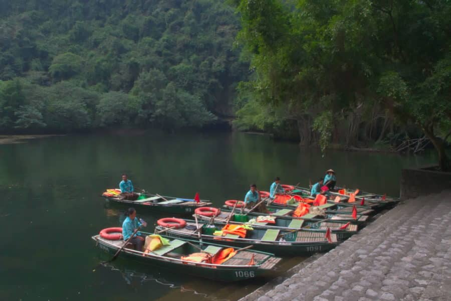 Boats waiting for tourists in Ninh Binh