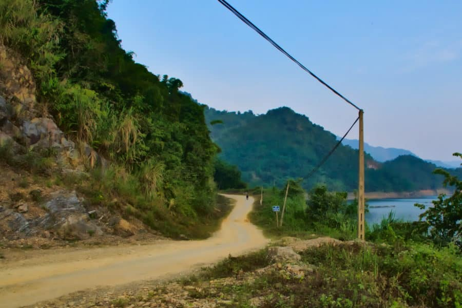 A river road on a  Vietnam motorbike tour with viettracks