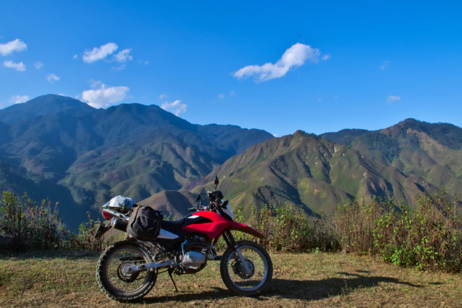 A Honda XR 150 in the mountains of Xim Vang, Vietnam on a motorbike tour