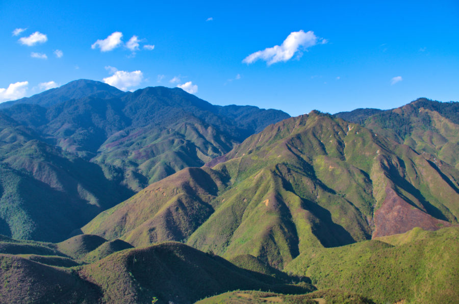 Remote mountains of Xim Vang on a motorbike tour of Vietnam