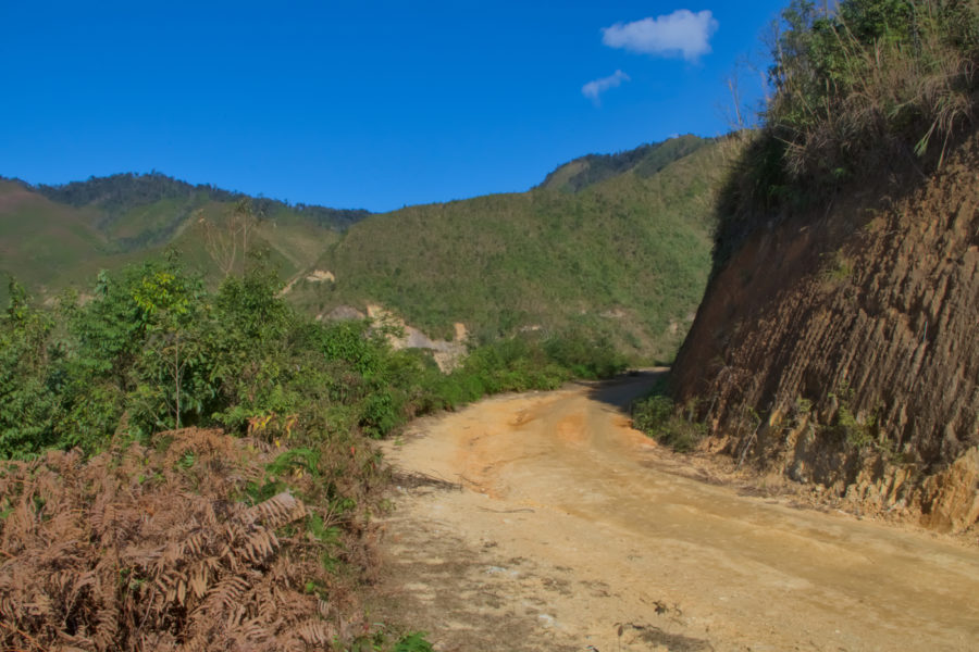 dirt backroad in Xim vang on a motorbike tour of Vietnam