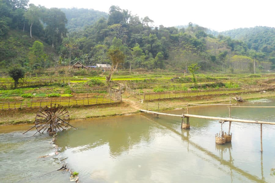 waterwheels and a bamboo bridge in Nghe An