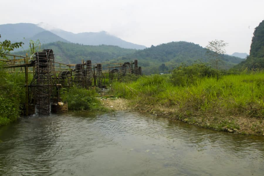 A group of water wheels in north Vietnam as seen on a motorbike tour