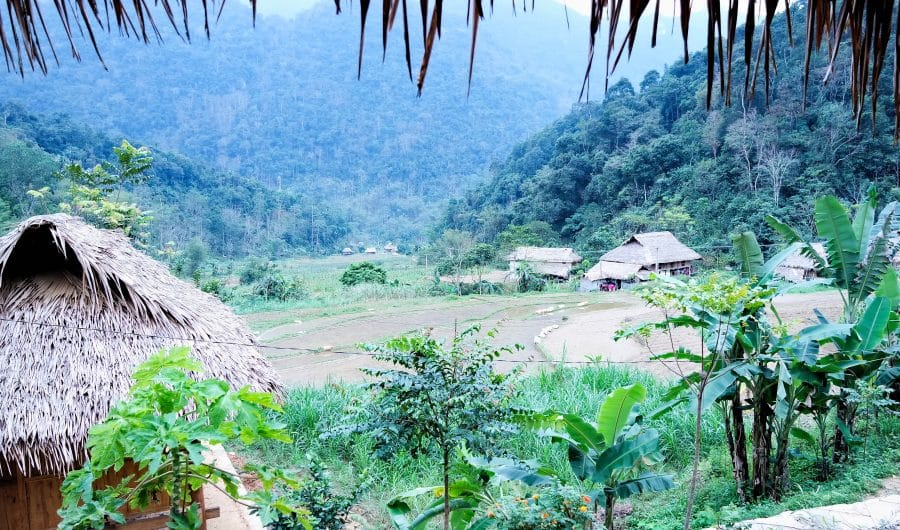 A view of Ban Hieu village from a homestay hut