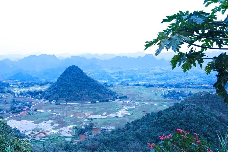 A view of mountains and farmland in northern vietnam