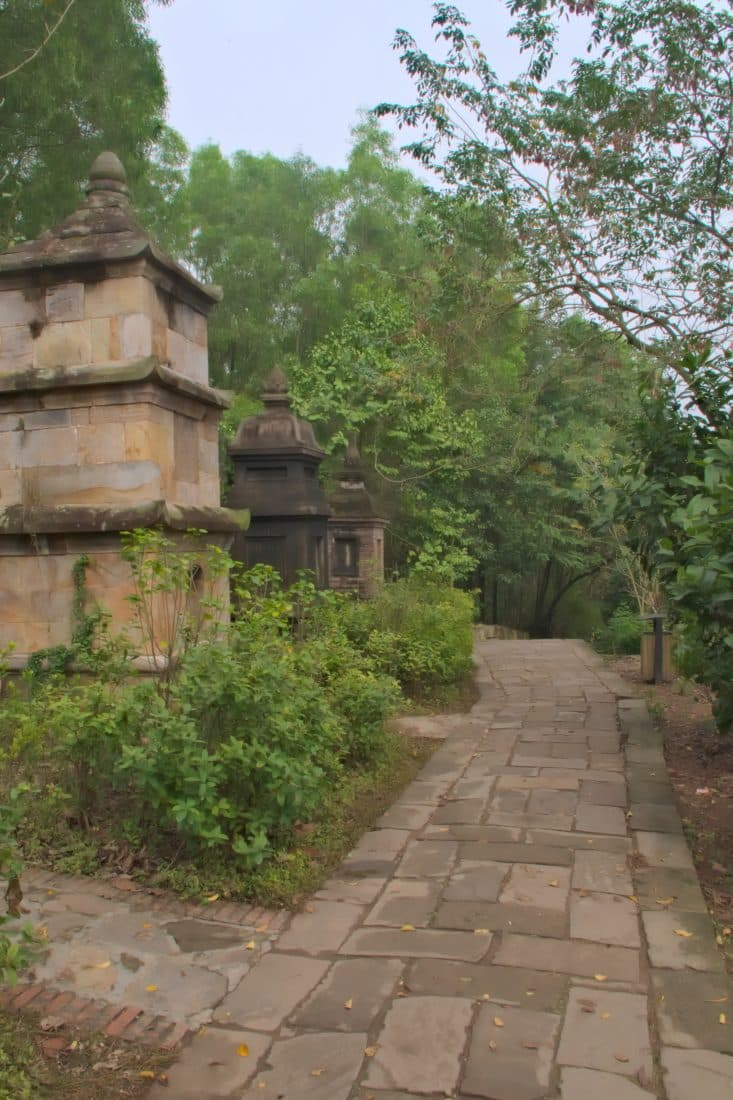 A paved path at a vietnamese temple complex