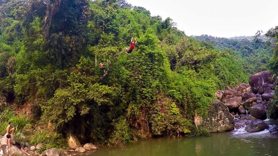 Boy with a red shirt jumping out of a tree in the jungle of Vietnam