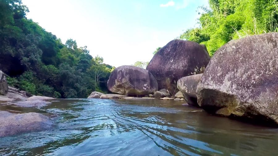 Boulders and a stream at Kim Boi, Vietnam