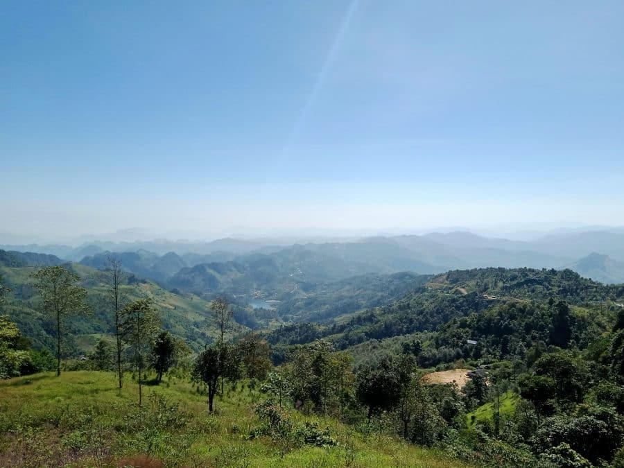 A view of green mountains in Son La, Vietnam on a sunny day