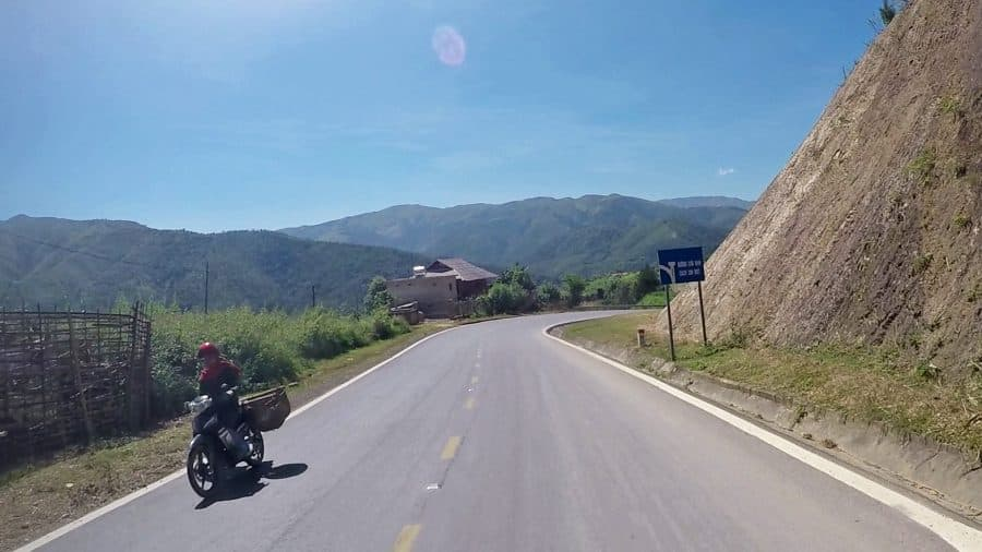 A motorbike on the Pha Din Mountain Pass in northern Vietnam