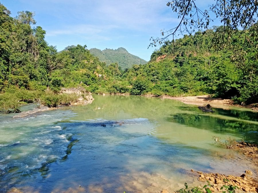 The clean blue Nam Nua River in Vietnam next to the Laotian border