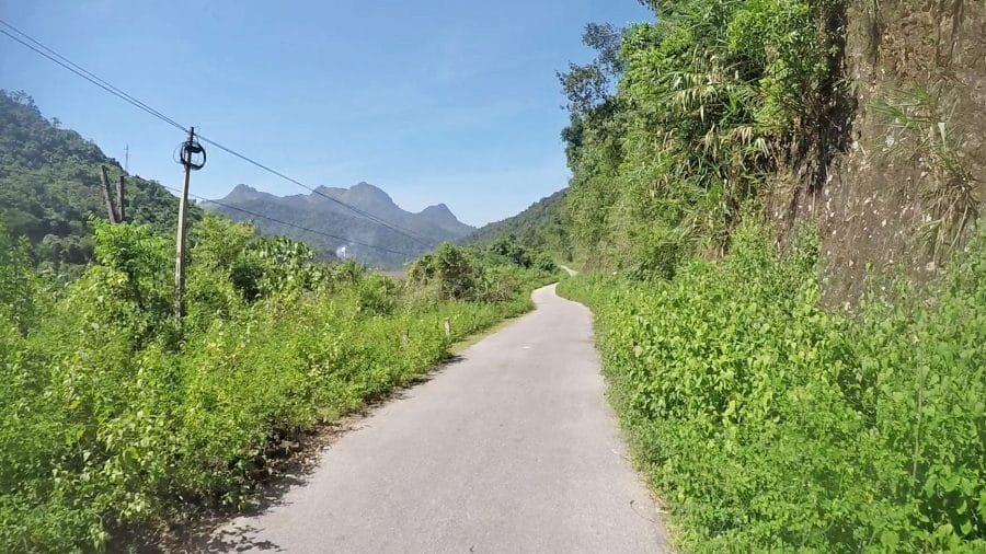 A beautiful country road surrounded by plants and mountains in Dien Bien. Vietnam