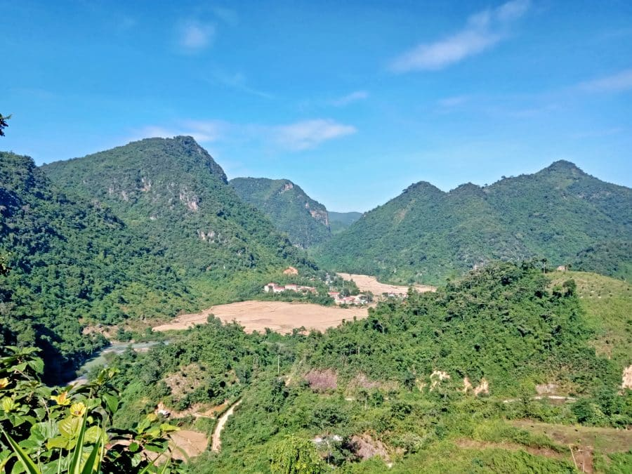 A beautiful valley town with green mountains in northwest Vietnam.